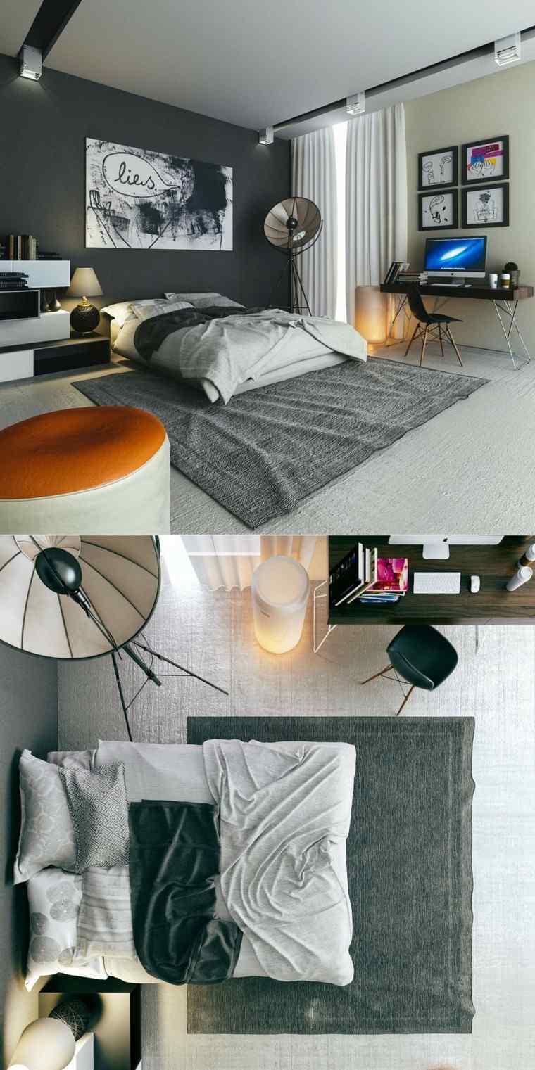 estilo sexy dormitorio masculino moderno reloj taburete naranja ideas