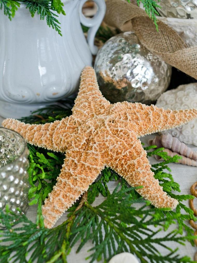 estrella mar rama abeto bola plata mesa navidad ideas