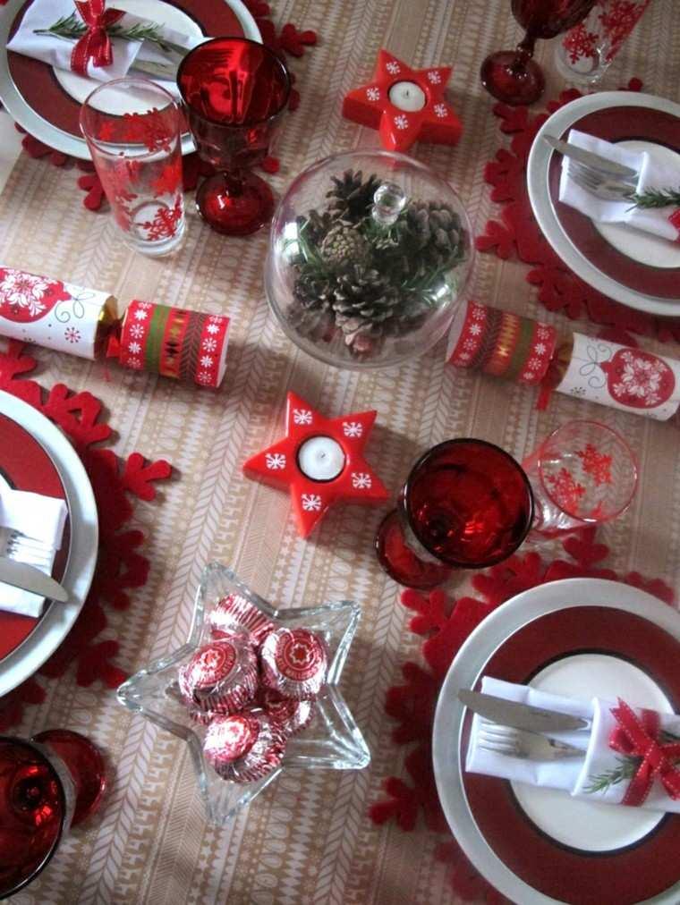 estrella roja vela mesa deco