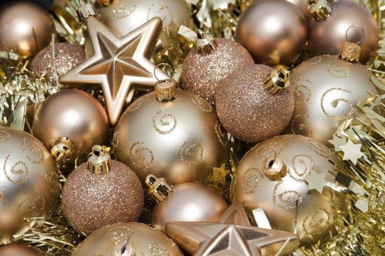 estralla bolas navidad guirnalda oro ideas
