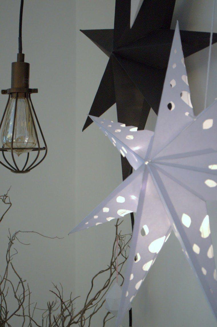 estrellas navidad decorando casa blanco negro ideas