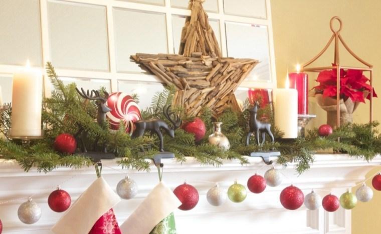estrellas de navidad decorando casa chimenea madera ideas