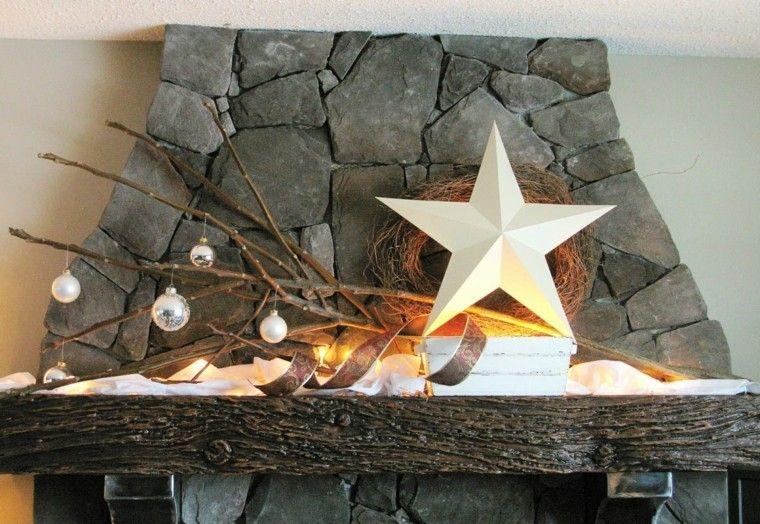 estrellas de navidad decorando casa chimenea ramas bolas ideas