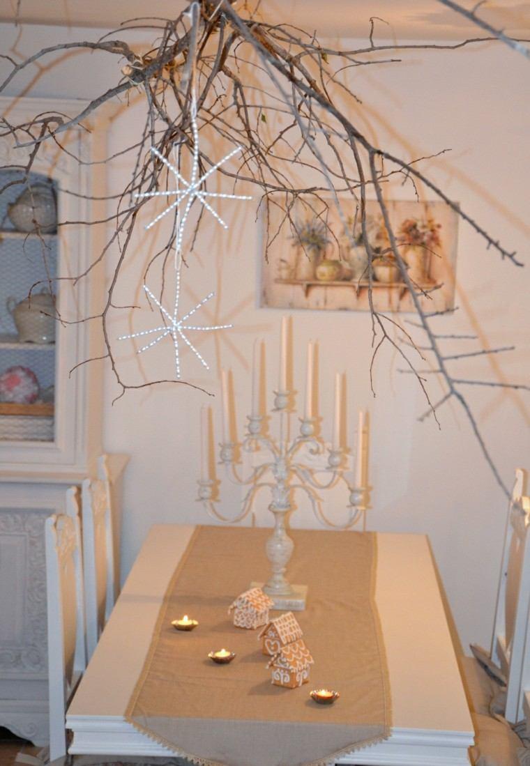 estrellas de navidad decorando casa ramas arbol ideas