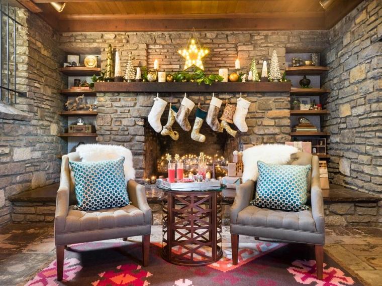 estrellas de navidad decorando chimenea estrella luces ideas