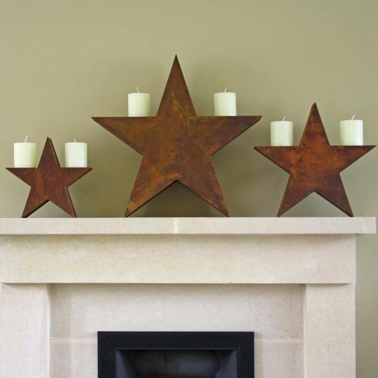 estrellas navidad madera chimenea sujetar velas ideas