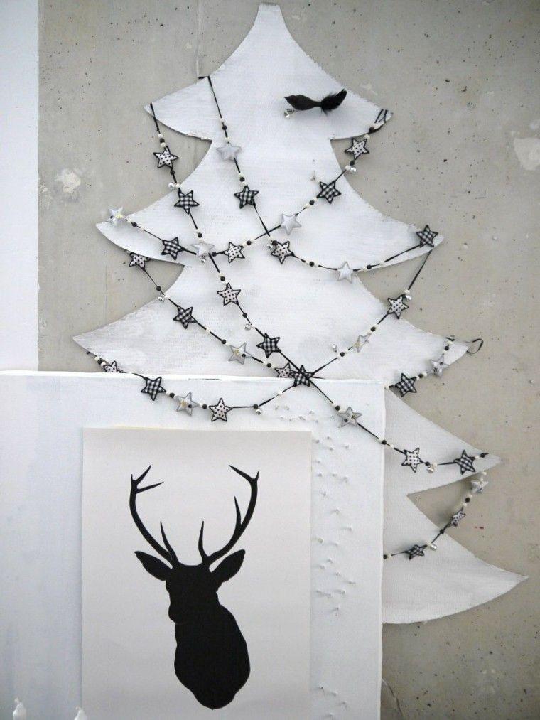 estrellas navidad guirnalda decorando arbol madera ideas