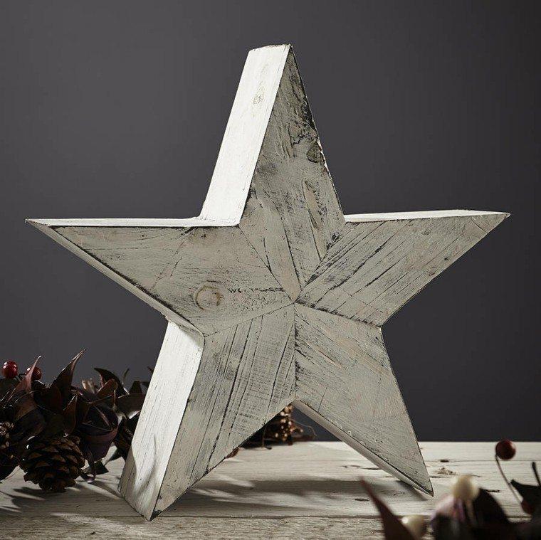 estrellas navidad madera pintada blanca ideas