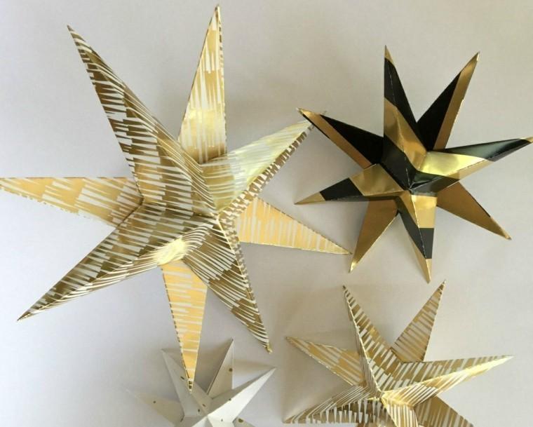 estrellas navidad pared casa papel oro ideas
