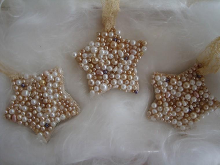 estrellas navidad perlas blanco oro ideas