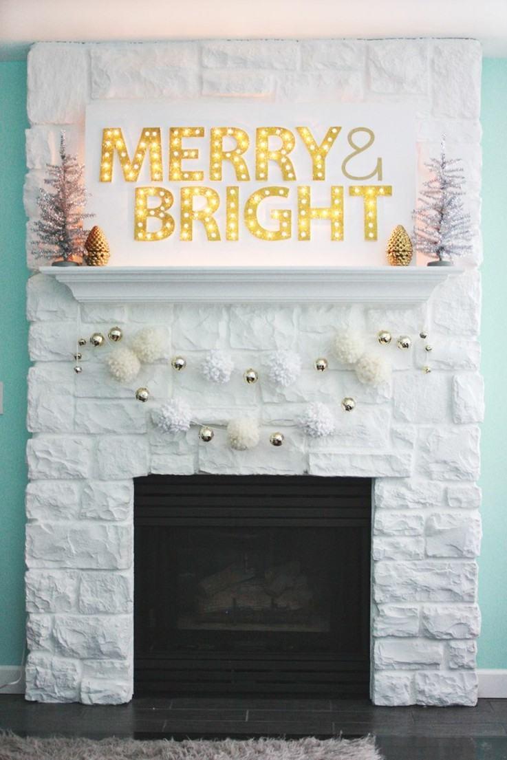 estupendo cartel navidad chimenmea blanca