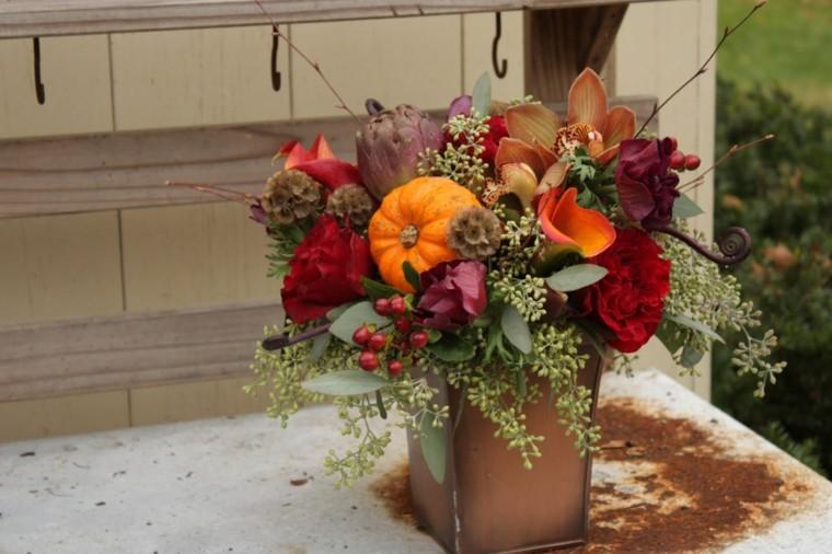 estupendo centro mesa flores rojas