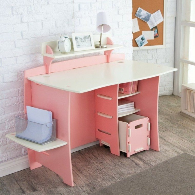 estupendo diseño escritorio juvenil rosa