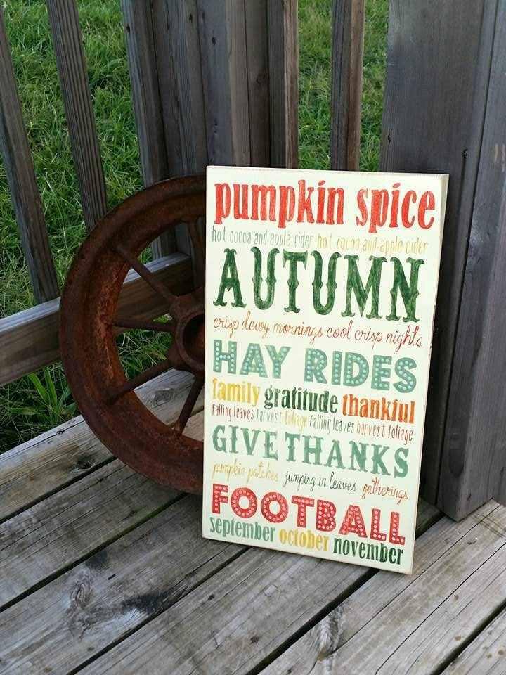 estupendo cartel letras otoño verdes