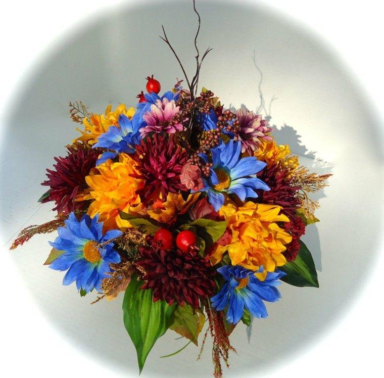 estupendo centro mesa flores azules