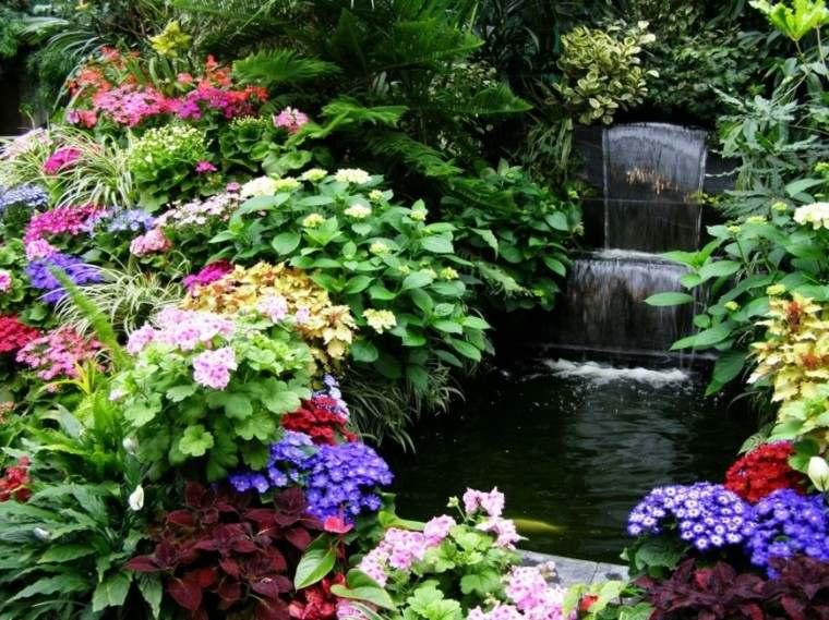 estupendo jardin flores colores cascada