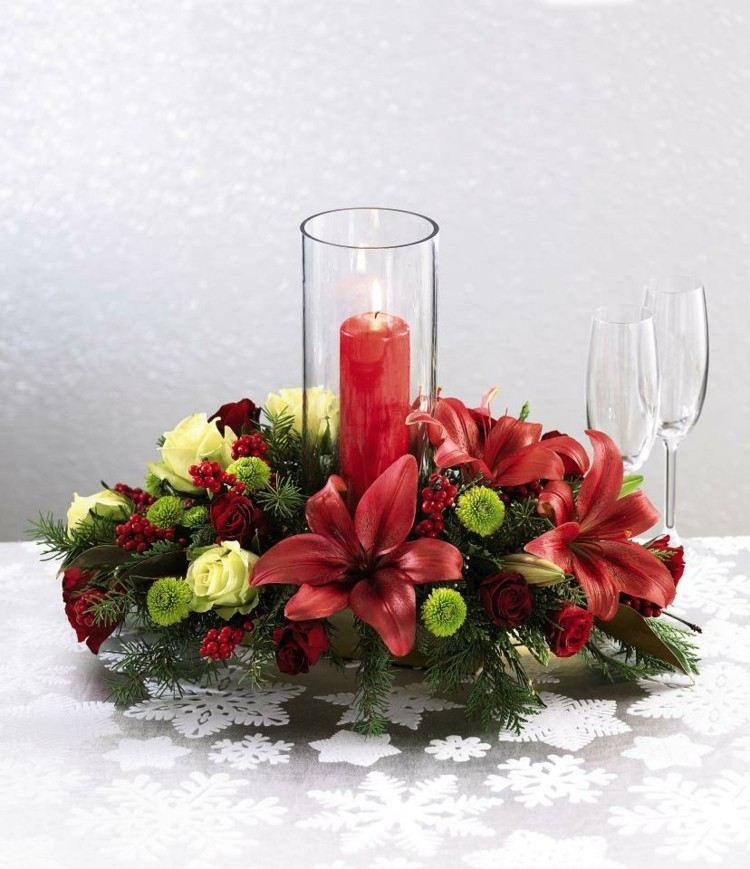 estupendo centro mesa vela roja