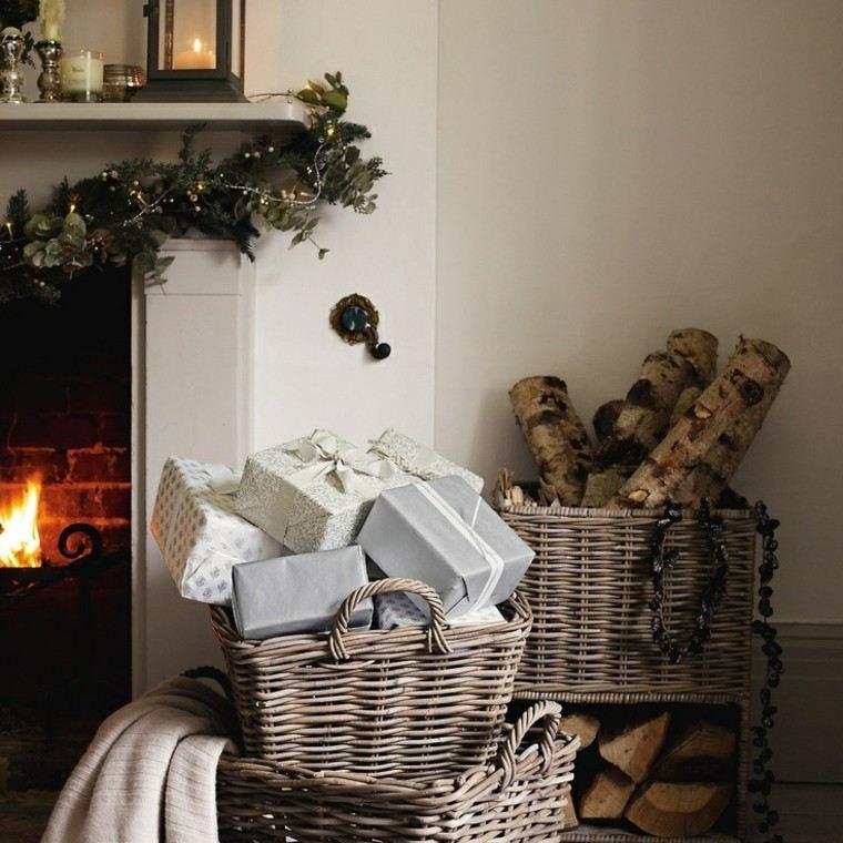 eucalipto decoracion navidad chimenea leños