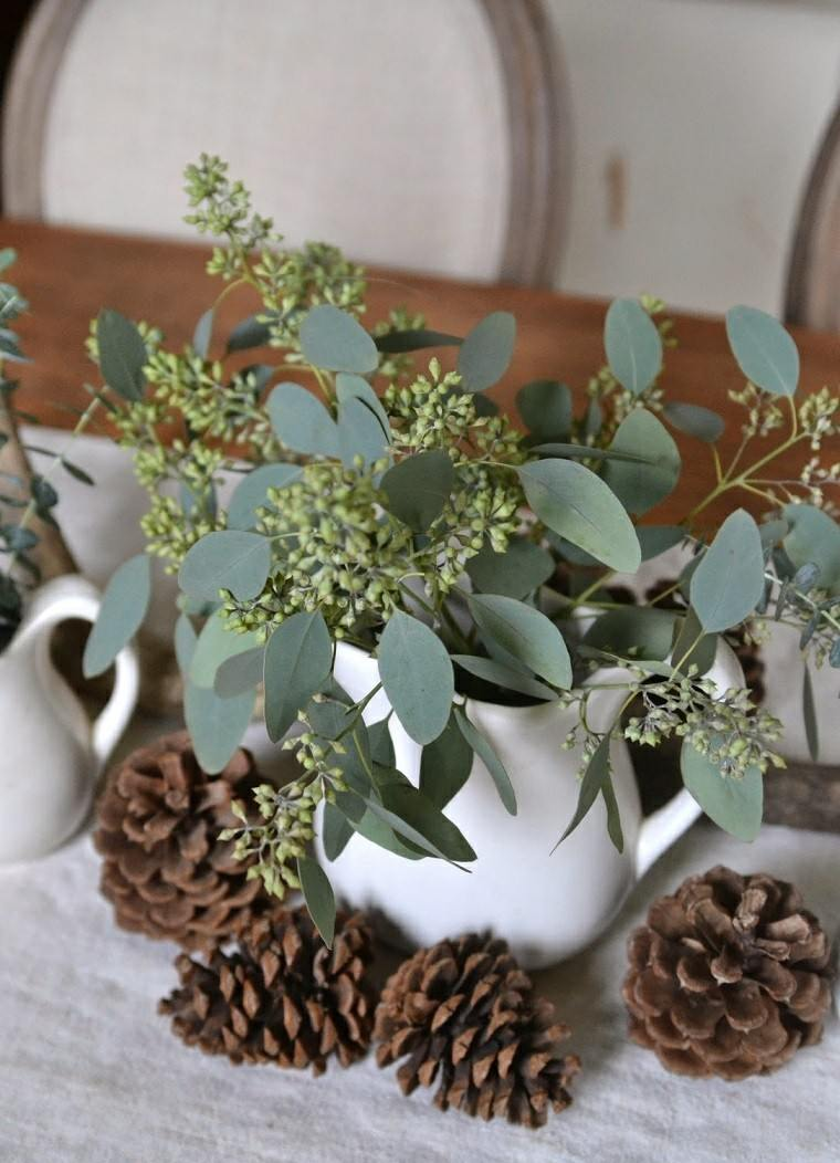 eucalipto decoracion navidad conos pino diy