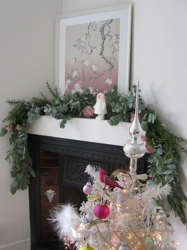 eucalipto decoracion navidad estilo chimenea cuadros