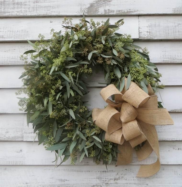 eucalipto decoracion navidad estilo lazo madera
