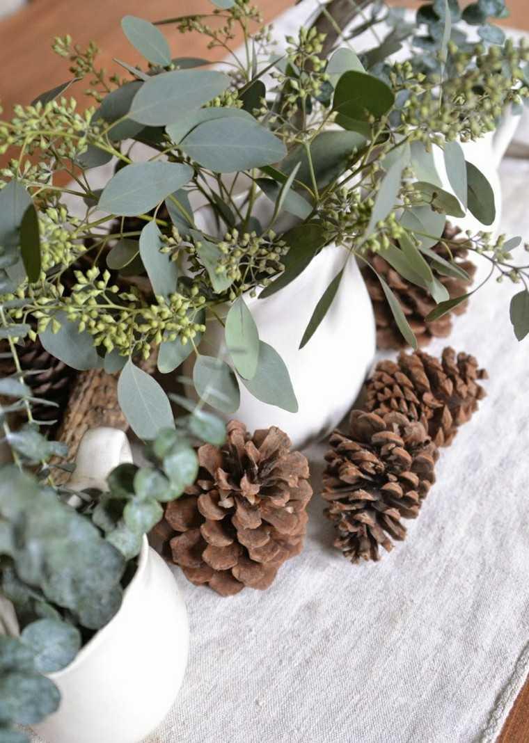 eucalipto decoracion navidad estilo mesa conos