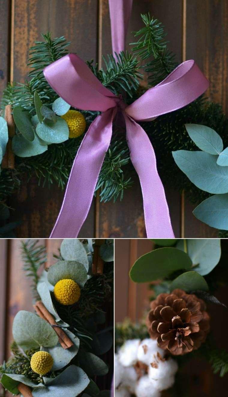 eucalipto decoracion navidad estilo rosa madera