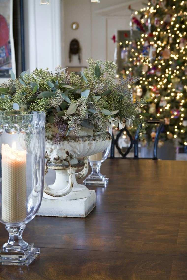 eucalipto decoracion navidad estilo velas mesa