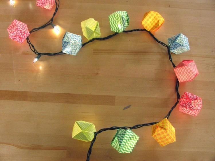 extension luces papeles colores lamparas