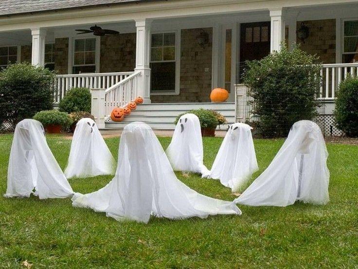 fantasmas blancos adornos jardin