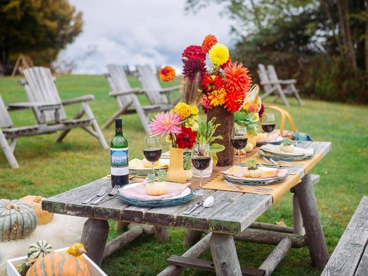 fiestas otono decoracion original aire libre flores ideas