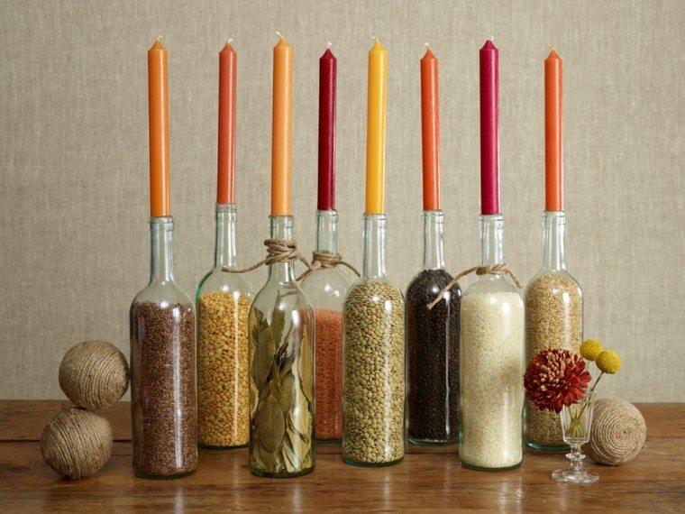 decoracion casa fieta otono botellas candelabros ideas