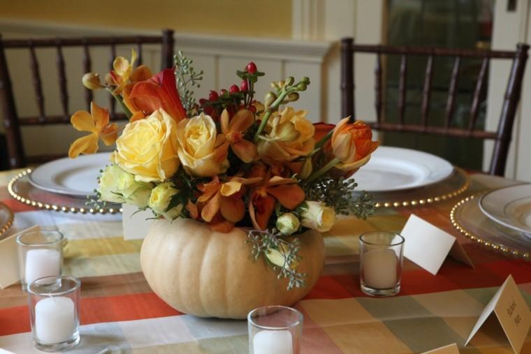 fiestas otono decoracion original centro calabaza flores mesa ideas