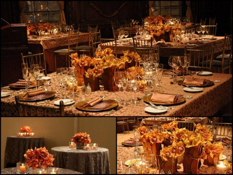 fiestas otono decoracion original flores velas romantico ideas