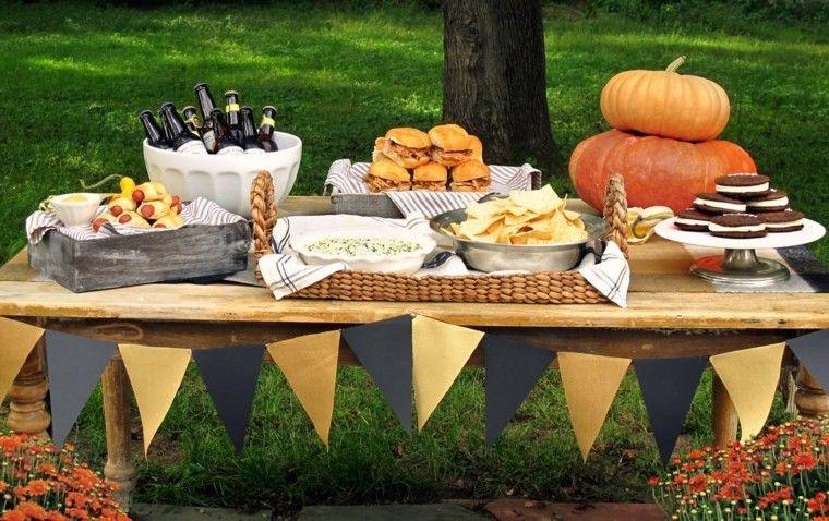 fiestas otono decoracion original jardin mesa ideas