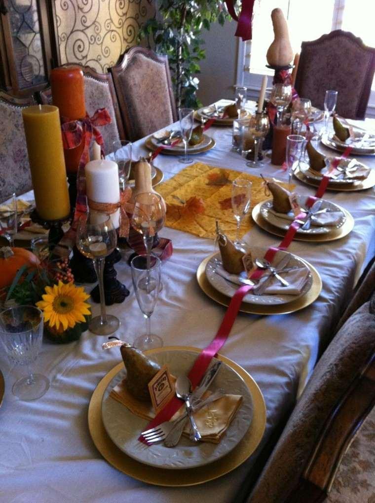 fiestas otono decoracion original lazo rojo ideas