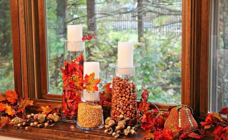 fiestas otono decoracion original maiz avellanas velas ideas