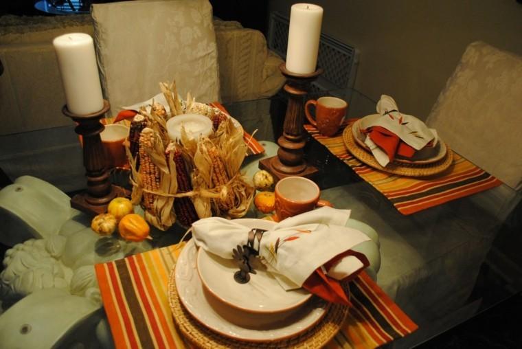 fiestas otono decoracion original maiz candelabros madera ideas