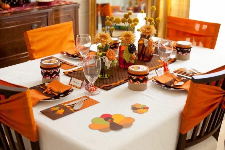 fiestas otono decoracion original mesa naranja blanco ideas