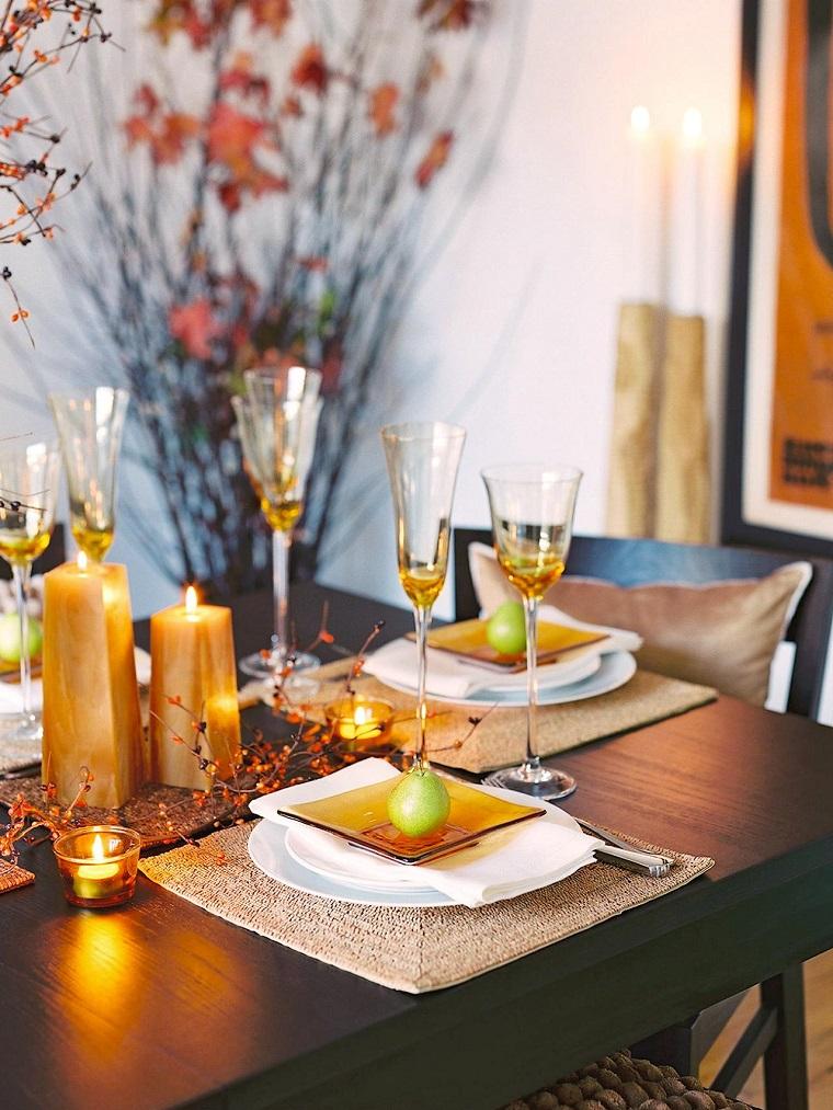 fiestas otono decoracion original perra velas oro ideas