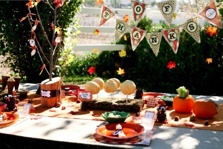 fiestas tematicas casa decoracion otono guirnaldas papel aire libre ideas