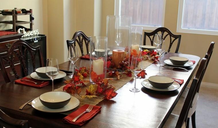 fiestas tematicas casa decoracion otono candelabros cristal mesa