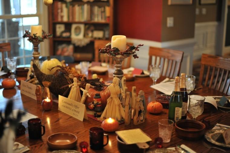 fiestas tematicas casa decoracion otono candelabros madera ideas
