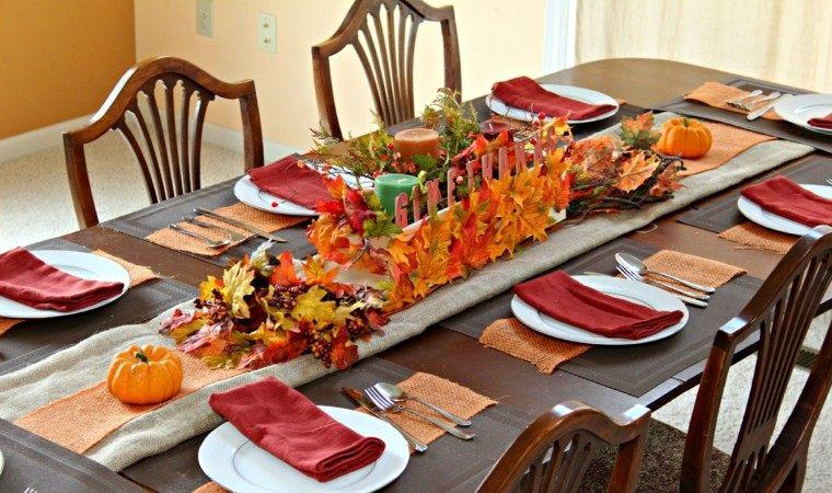 fiestas tematicas casa decoracion otono hojas secas centro ideas
