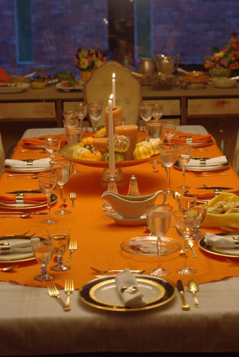 fiestas tematicas casa decoracion otono mantel naranja ideas