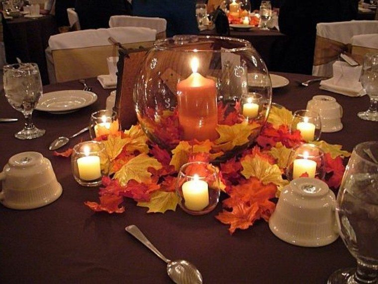 fiestas tematicas casa decoracion otono velas hojas ideas