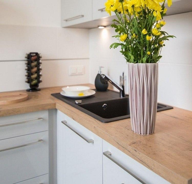 flores amarillo casona diseño fregadero