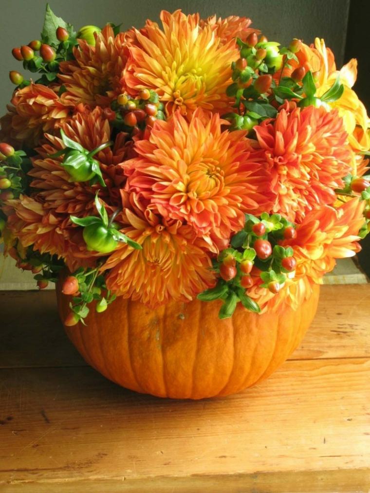flores otoño decoración calabaza