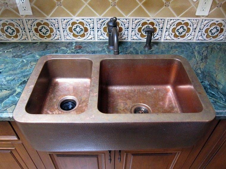 fregadero cobre cocina doble encimera granito azul ideas