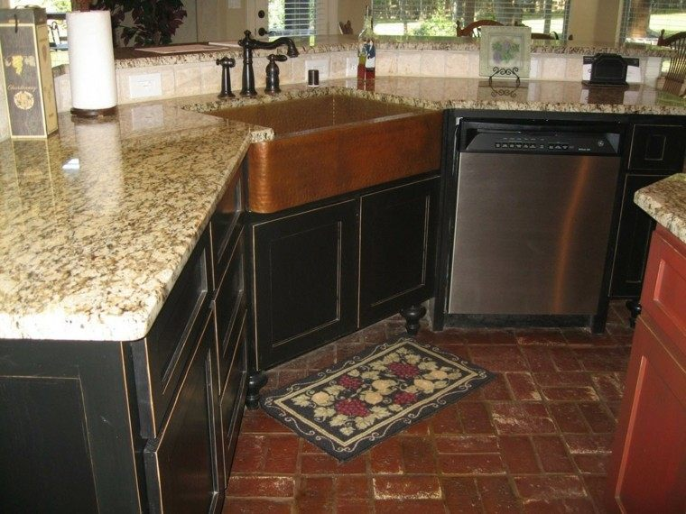 fragadero cobre cocina encimera granito ideas